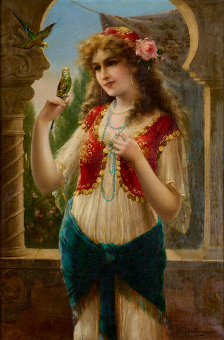 Emile Vernon (French, 1872-1919) On the terrace 36 1/4 x 24in (92 x 61.5cm)