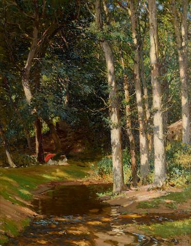 Samuel John Lamorna Birch, RA, RWS, RWA (British, 1869-1955) A picnic in Lamorna woods 36 3/4 x 28in (93.5 x 71cm)