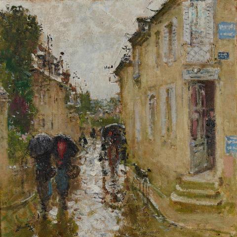 Pierre Eugène Montézin (1874-1946) La grande rue de Bessé-sur-Bray sous la pluie 28 3/4 x 28 3/4in (73 x 73cm)