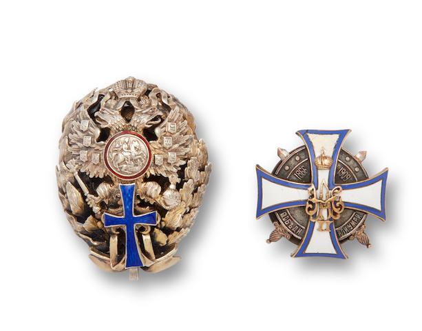 Two silver, bronze and enamel graduation badgesfirst: marked with Cyrillic mark 'VR' probably for Vasily Rukavishnikov, Moscow, 1908-1917; second: K.I. Bok, St. Petersburg, c. 1900