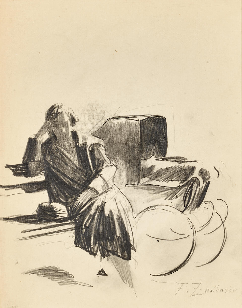 Fedor Zakharov- Man on park bench sketching & Woman with baby carriage (2 works)