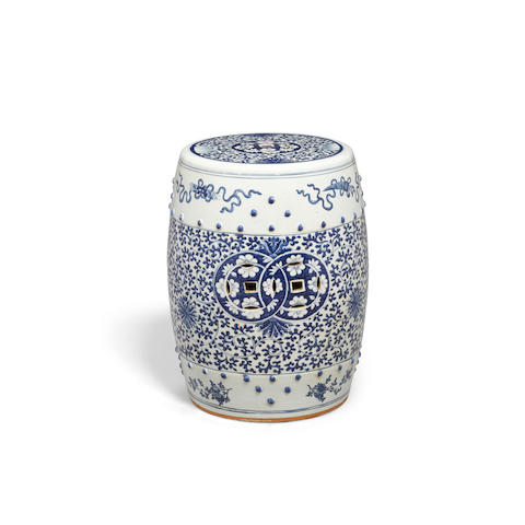 A blue and white porcelain garden seat Republic period