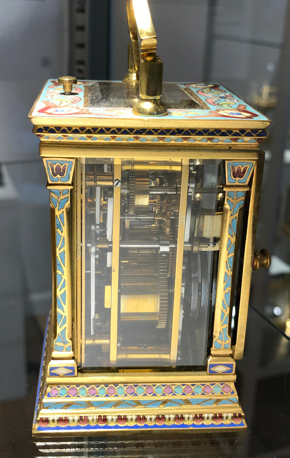 A fine cloisonné enamel quarter repeating miniature carriage clock with center seconds and alarmLate 19th century