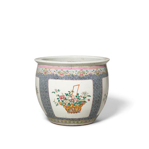 A famille rose enameled  planter 20th century