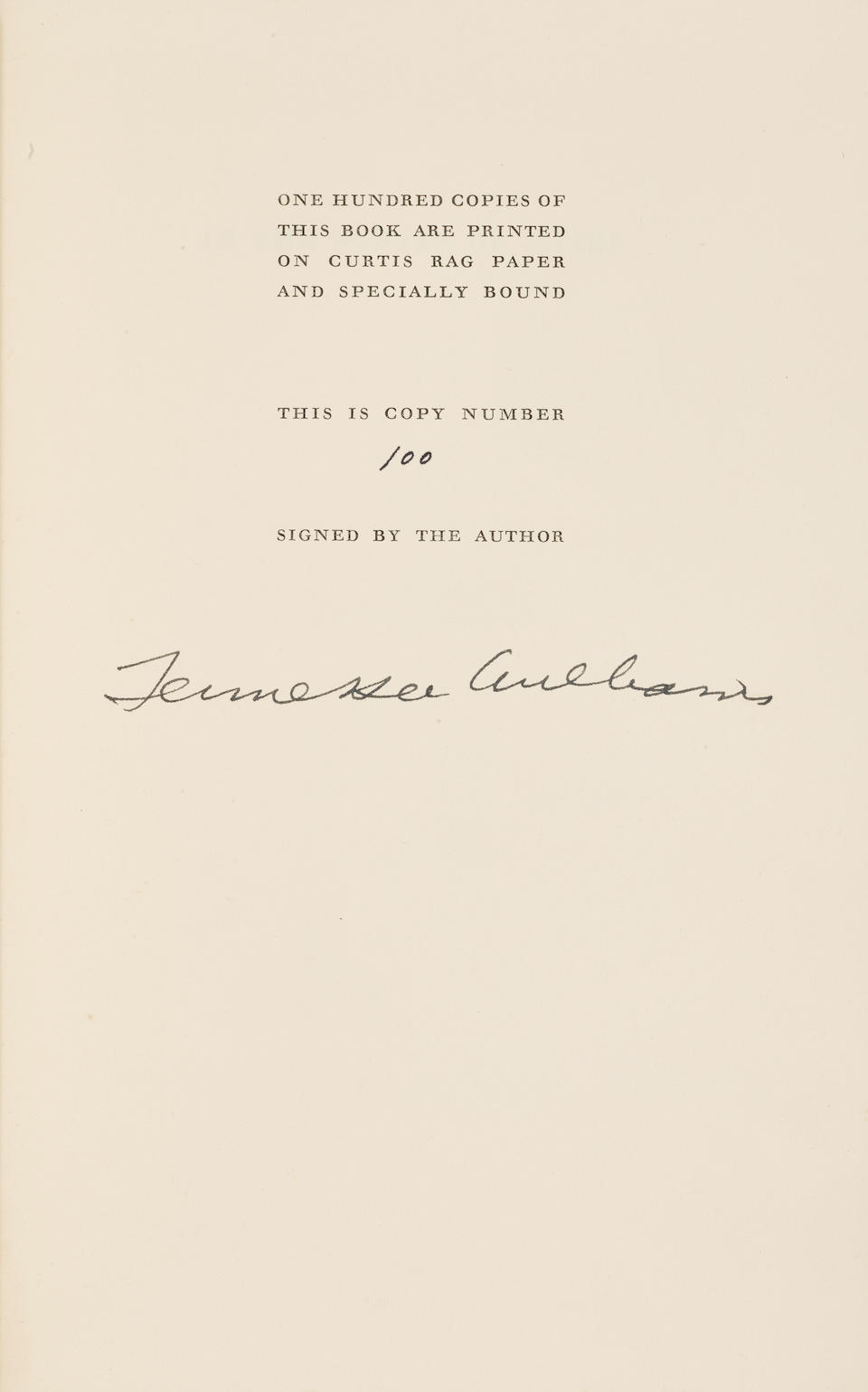 "WILLIAMS, TENNESSEE. 1911-1983. Typed Manuscript, with holograph annotations, signed and dated (""Tennessee Williams / Key West, 1971""), being a draft for an unused preface to In the Winter of Cities,"