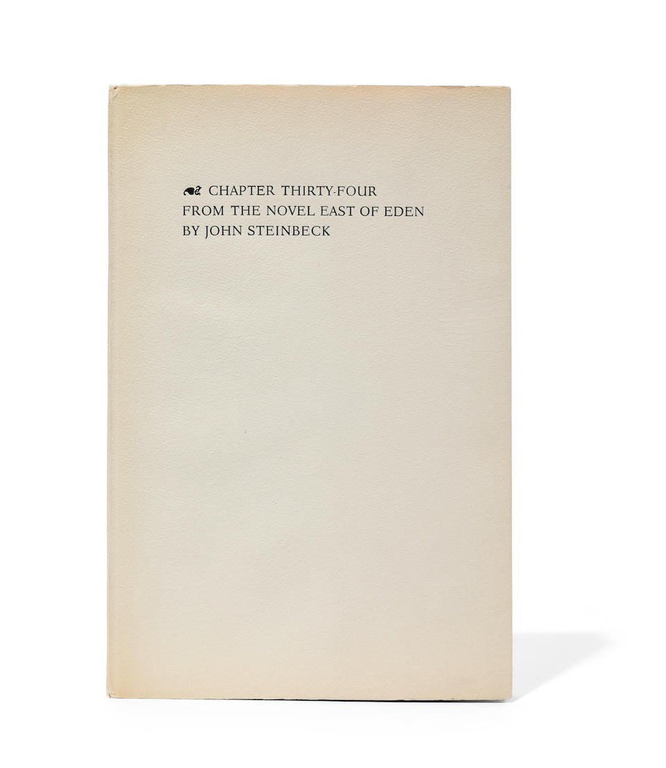 STEINBECK, JOHN. 1902-1968. Chapter Thirty-Four From the Novel East of Eden. [Bronxville]: Privately printed by Valenti Angelo, 1952.
