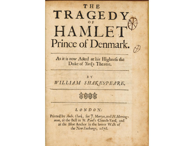 SHAKESPEARE, WILLIAM. 1546-1616. The Tragedy of Hamlet, Prince of Denmark. As it is now Acted at his Highness the Duke of York's Theatre. Adapted by Sir William Davenant (1606-1668). London: Printed by Andrew Clark for J. Martyn and H. Herringman, 1676.