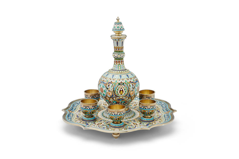 a silver-gilt and enamel liqueur set Pavel Ovchinnikov, with Imperial Warrant, Moscow, c. 1895