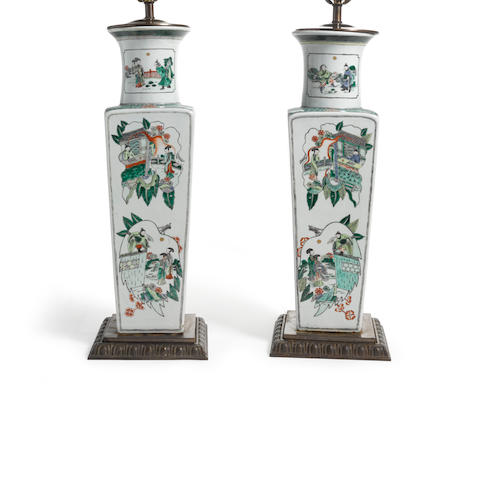 A pair of square-sectioned baluster vases with famille verte decoration  Kangxi marks, late Qing dynasty  (2)
