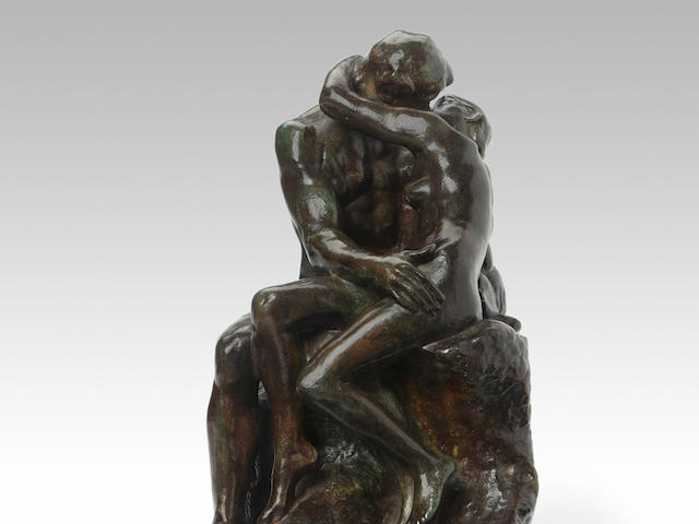 AUGUSTE RODIN (1840-1917) Le Baiser, 4ème réduction ou petit modèle  9 7/8 in (25.8 cm) (height) (Conceived in 1886 and cast in 1945)