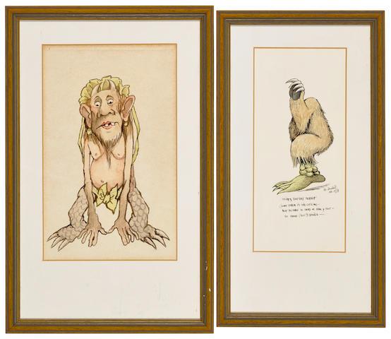 SENDAK, MAURICE. 1928-2012. Two original watercolor costume designs:
