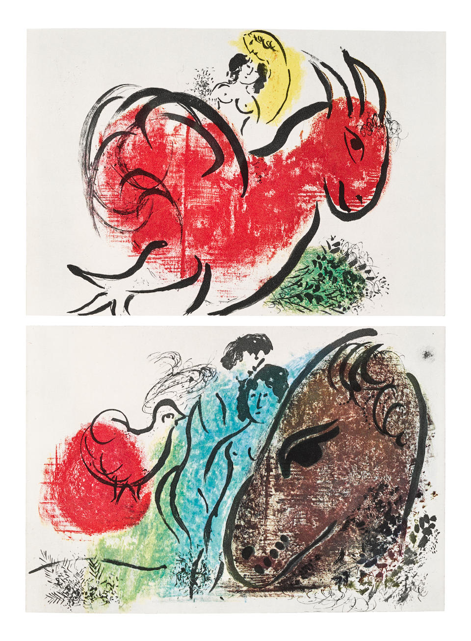 CHAGALL, MARC. 1887-1985.  The Lithographs of Chagall.   Monte Carlo and Boston: André Sauret, George Braziller and Boston Book and Art Shop, 1960-1963-1969.