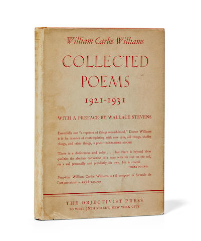 WILLIAMS, WILLIAM CARLOS. 1883-1963. STEVENS, WALLACE. Preface. Collected Poems 1921-1931. New York: The Objectivist Press, 1934.