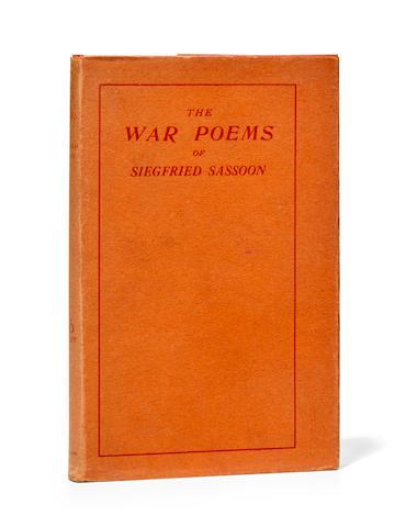 SASSOON, SIEGFRIED. 1886-1967. The War Poems of Siegfried Sassoon. London: William Heinemann, 1919.