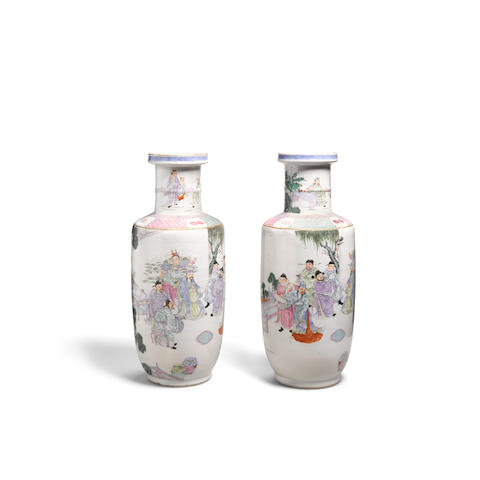 A pair of famille rose enameled rouleau vases 19th century (2)