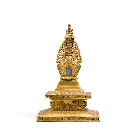 A gilt bronze stupa 18th century