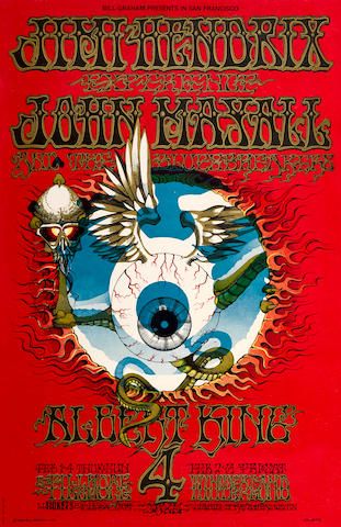 "A Jimi Hendrix Experience Fillmore Auditorium And Winterland Concert Poster ""Flying Eyeball"" BG-105 First Printing 1968"