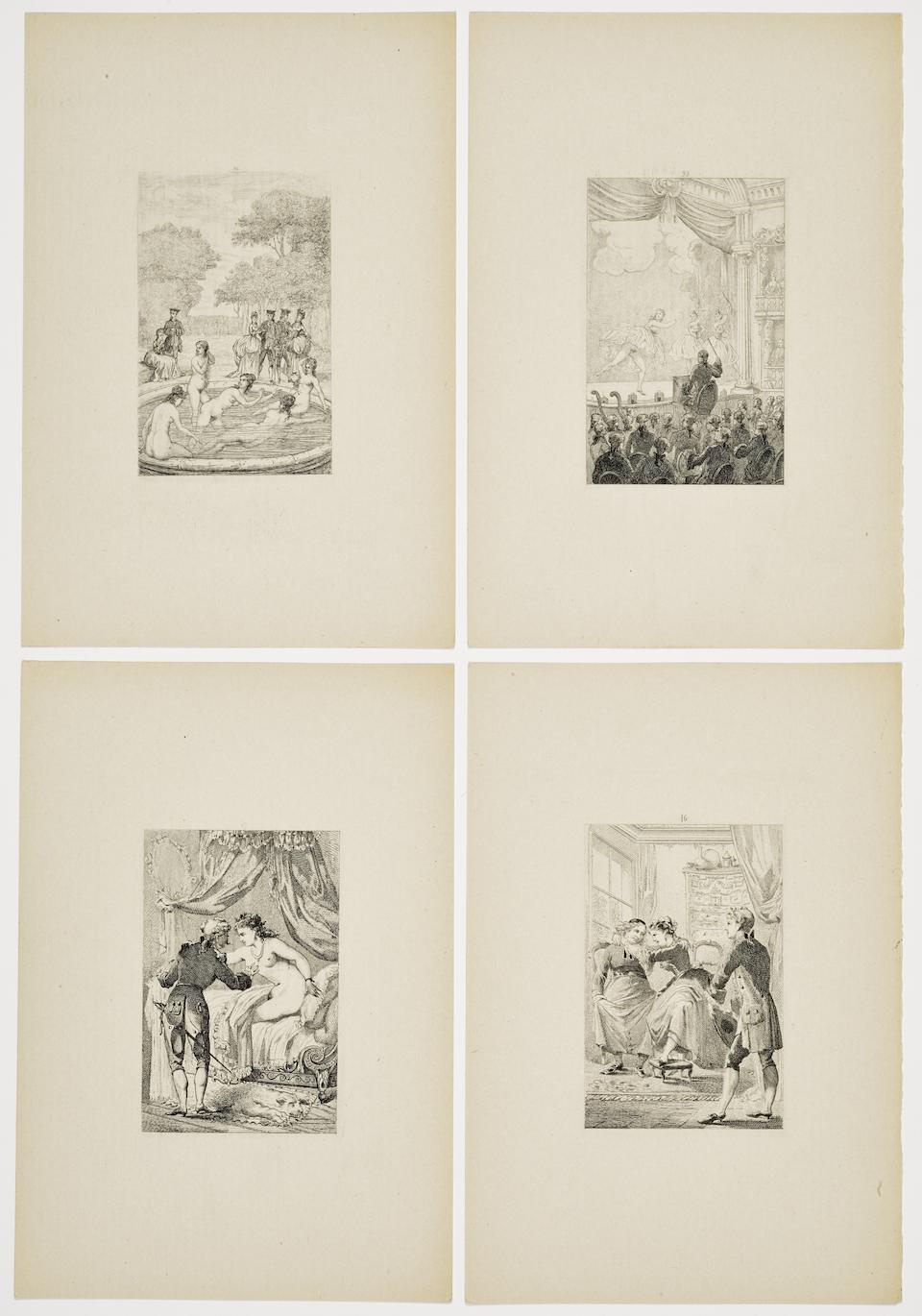 EROTICA. 3 albums of French erotic plates and drawings, as follows: