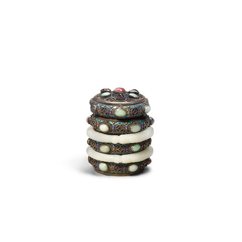 A jade and hardstone-mounted circular silver box and cover (2)