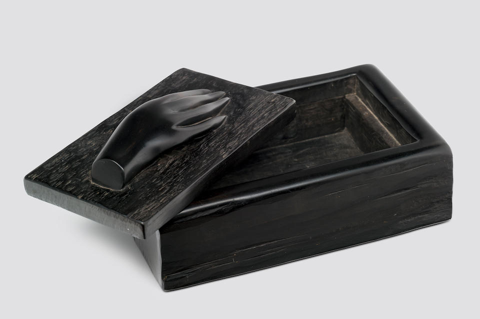 ALEXANDRE NOLL (1890‐1970) Box and Covercirca 1955carved ebonyheight 4 1/4in (11cm); width 10in (25cm); depth 6 1/8in (15.5cm)