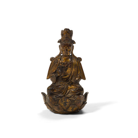 A gilt copper alloy seated Buddhist figure Liao dynasty
