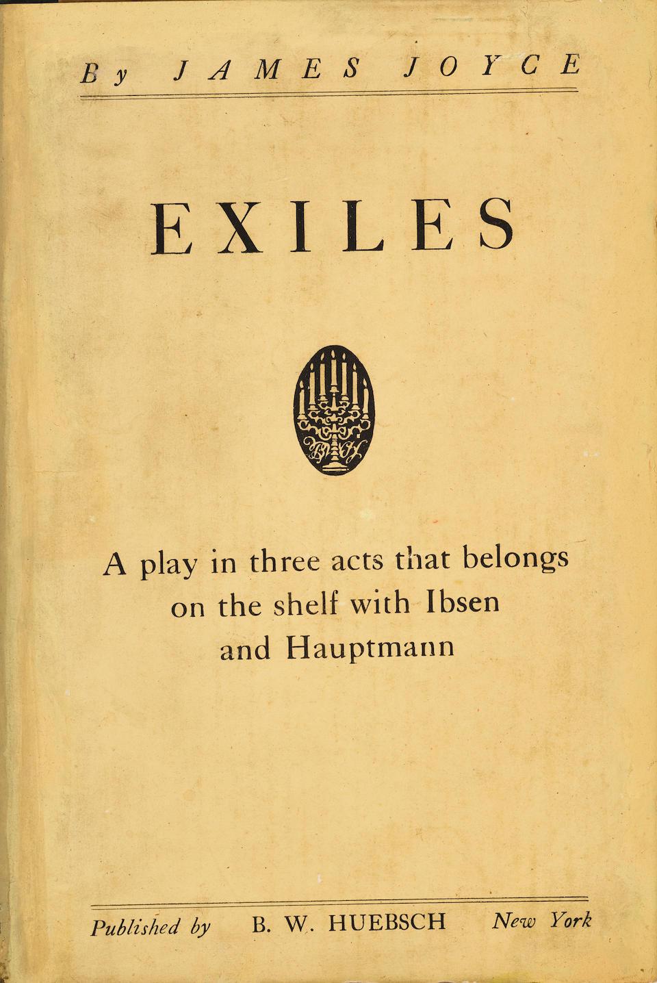 JOYCE, JAMES. 1882-1941. Exiles.  New York: B.W. Huebsch, 1918.