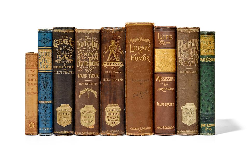 "CLEMENS, SAMUEL LANGHORNE (""MARK TWAIN""). 1835-1910. Early Works of Mark Twain, in original cloth, 9 titles:"