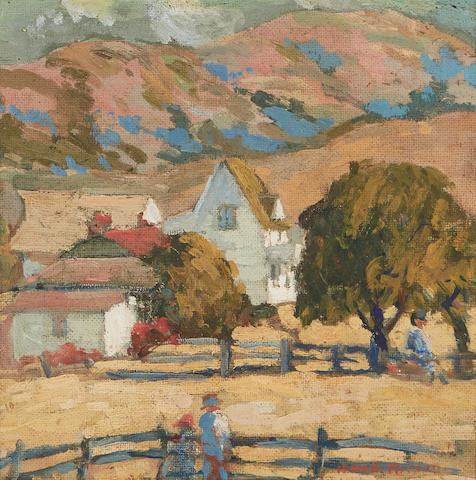 Mary DeNeale Morgan (1868-1948) Carmel Valley Ranch 12 x 12in