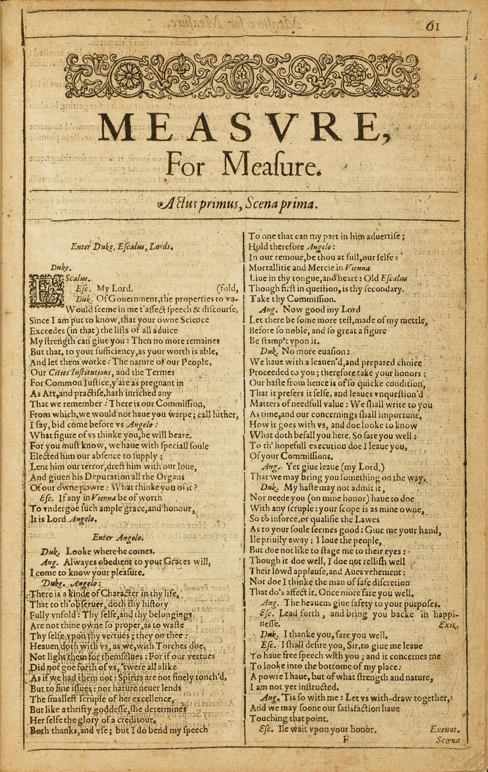 SHAKESPEARE, WILLIAM. 1564-1616. Measure, for Measure [Extracted from the First Folio]. [London: Isaac Jaggard..., 1623.]
