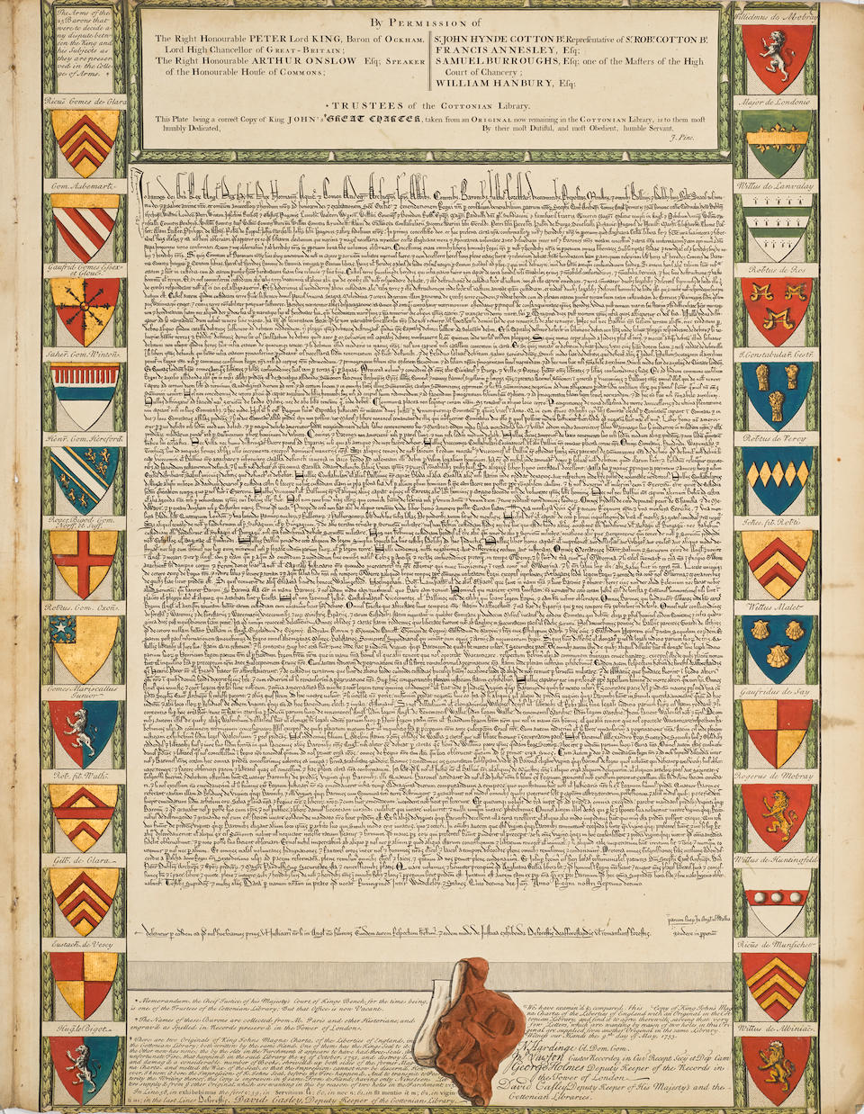 MAGNA CARTA. London: J.Pine, After May, 1733.