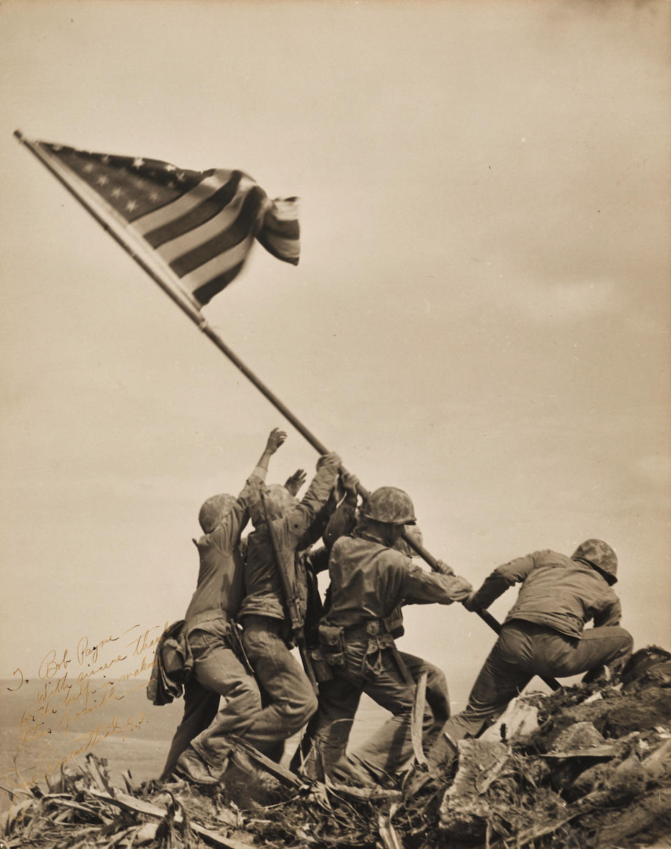 SOLD TO BENEFIT THE FIRST BATTALION SEVENTH MARINES ASSOCIATION.  THE IWO JIMA FLAG RAISING. ROSENTHAL, JOSEPH. 1911-2006.  Raising the Flag on Iwo Jima.