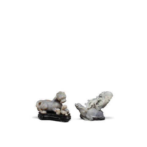 Two mottled gray hardstone animal carvings (2)