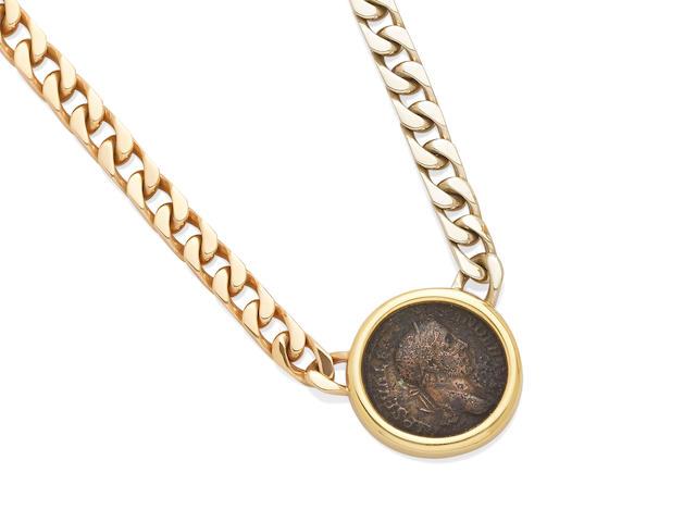 A bezel set coin necklace, Bulgari