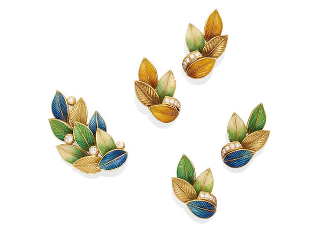a diamond and enamel brooch and two pairs of earclips