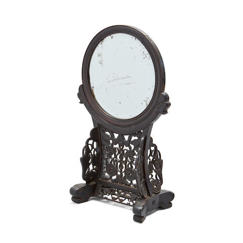 A hongmu framed mirror on stand Late Qing/Republic period