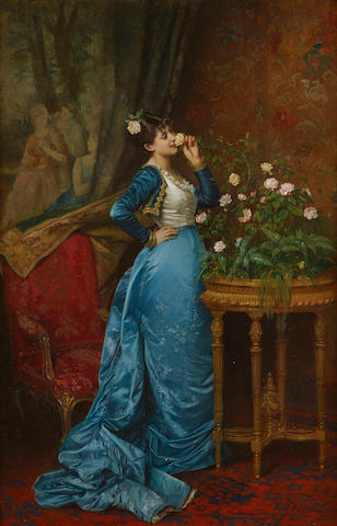 Auguste Toulmouche (French, 1829-1890) In delightful anticipation 24 1/8 x 15 3/4in (61.3 x 40cm)