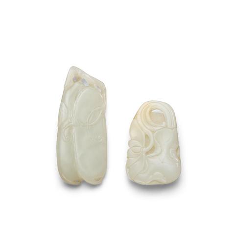 Two white jade pendants (2)