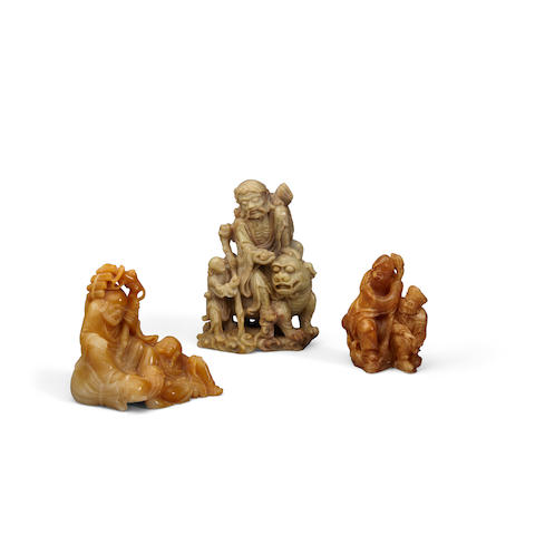A group of three soapstone carvings (2)