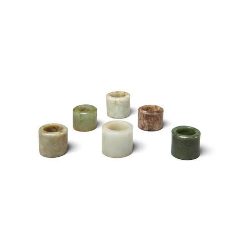 Six jade archer's rings (6)