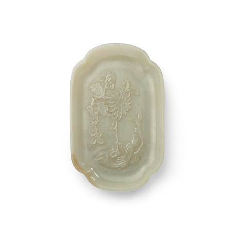 A carved jade lobed dish