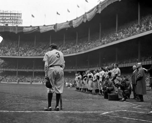 Nat Fein (1914-2000); The Babe Bows Out - Babe Ruth Farewell, Yankee Stadium;