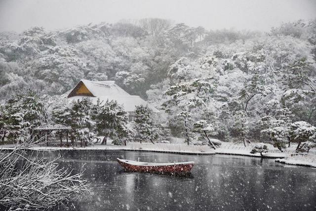 Steve McCurry (born 1950); Boat Covered in Snow in Sankei-en Gardens, Tokyo;