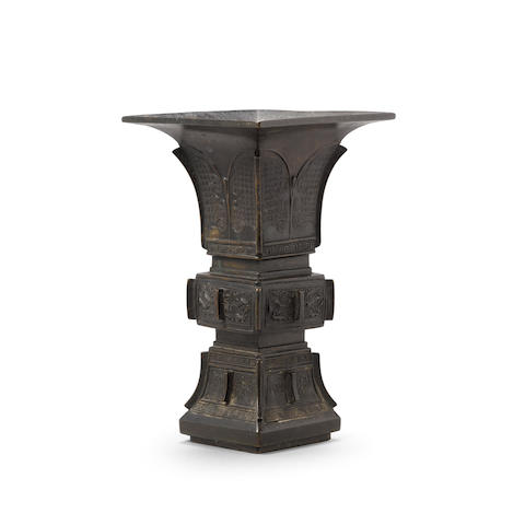 An archaistic bronze gu-form vase Qing dynasty or later