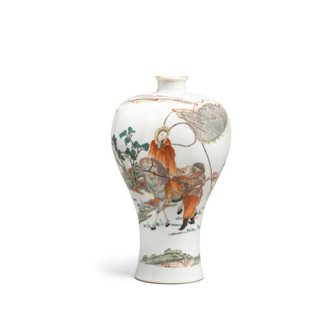 A famille rose enameled  meiping vase  Qianlong mark, Republic period