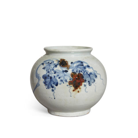A underglaze blue and copper red decorated globular jar Late Joseon dynasty