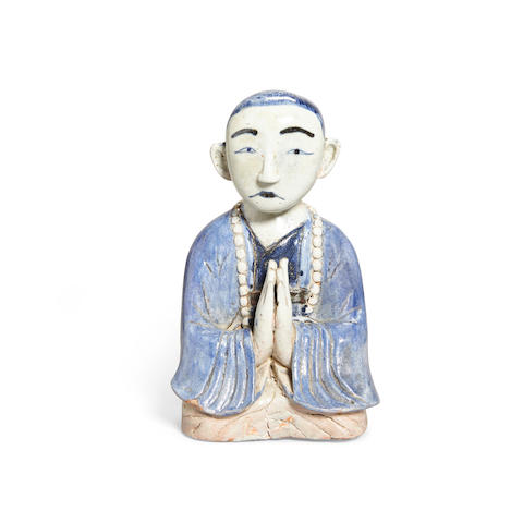 A blue and white bust of a Buddhist monk Late Joseon dynasty