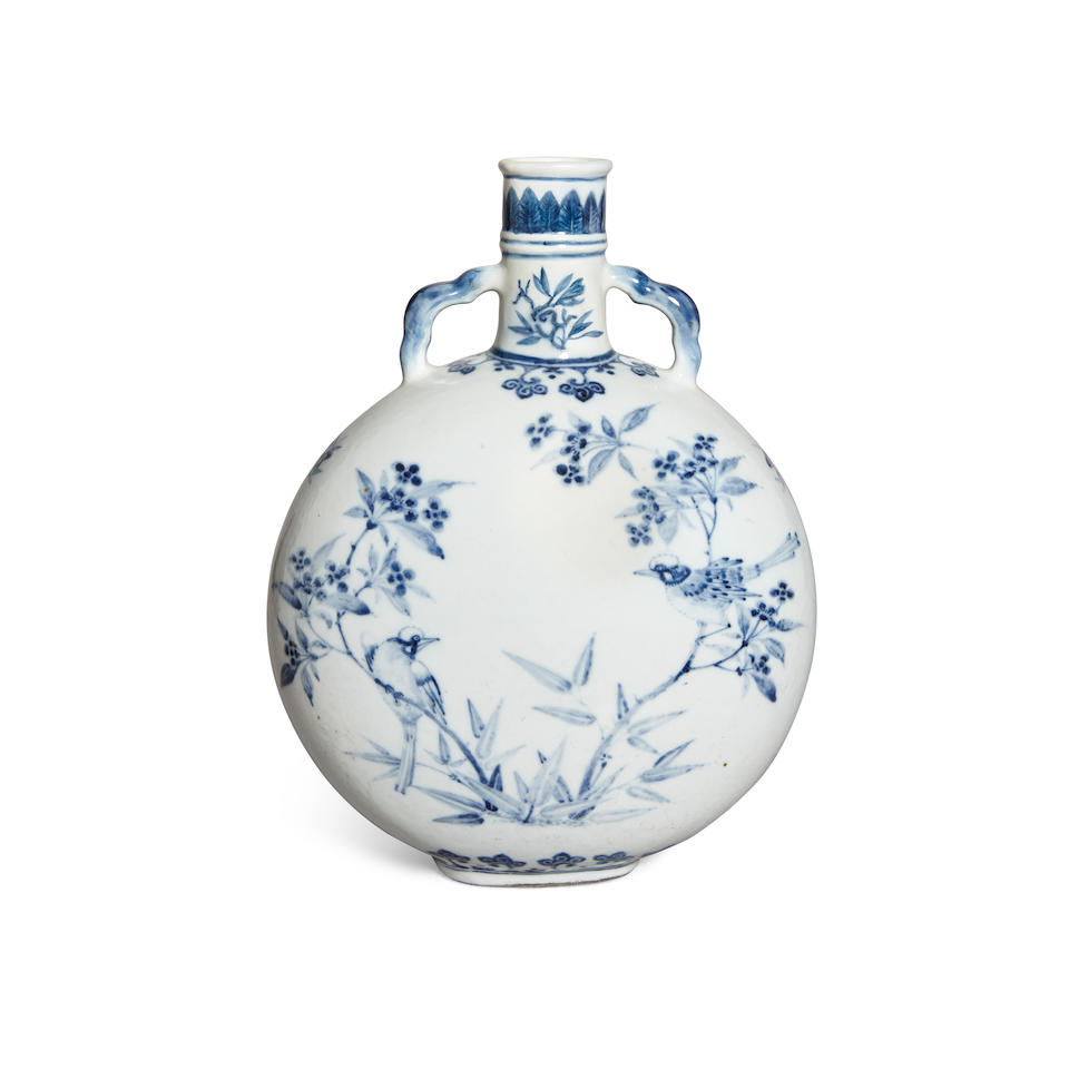 A blue and white moon flask Republic period