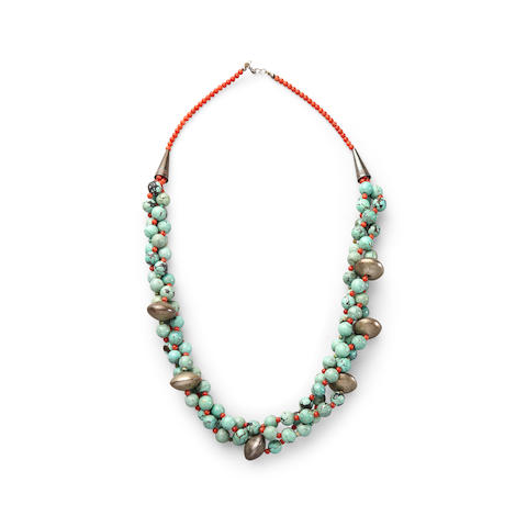 A Tibetan turquoise necklace