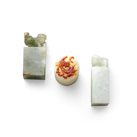 Three small jade seals (3)