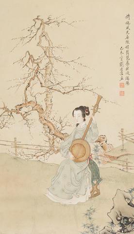 Liu Lingcang (1907-1989) Beauty Playing the Lute, 1979